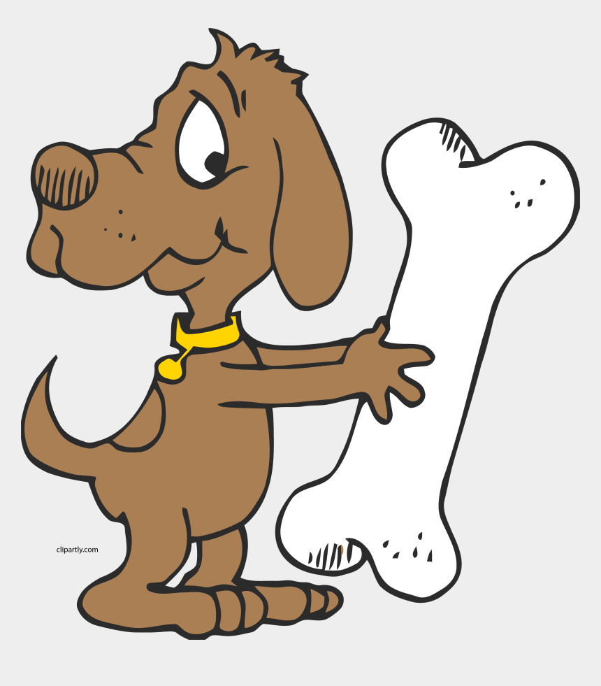 dog bone clipart, Cartoons - Dog With A Seriously Large Bone Clipart Png - Dog With Bone Clipart