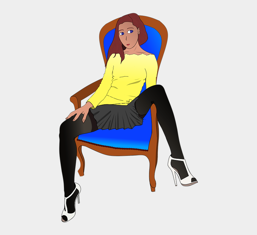sit clip art, Cartoons - Woman, Chair, Sit - Sitting