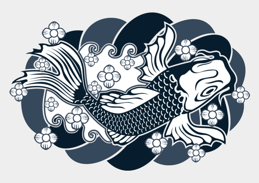 tattoo machine clip art, Cartoons - Тату Рыба Японская Традиционная - Japanese Tattoo Design Vector