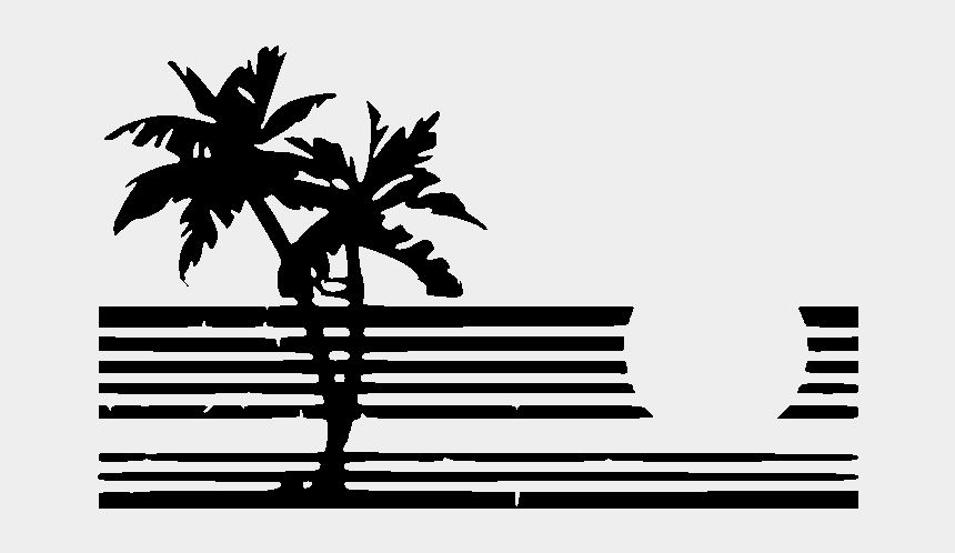 sunset clipart black and white, Cartoons - Black Palm Tree Outline