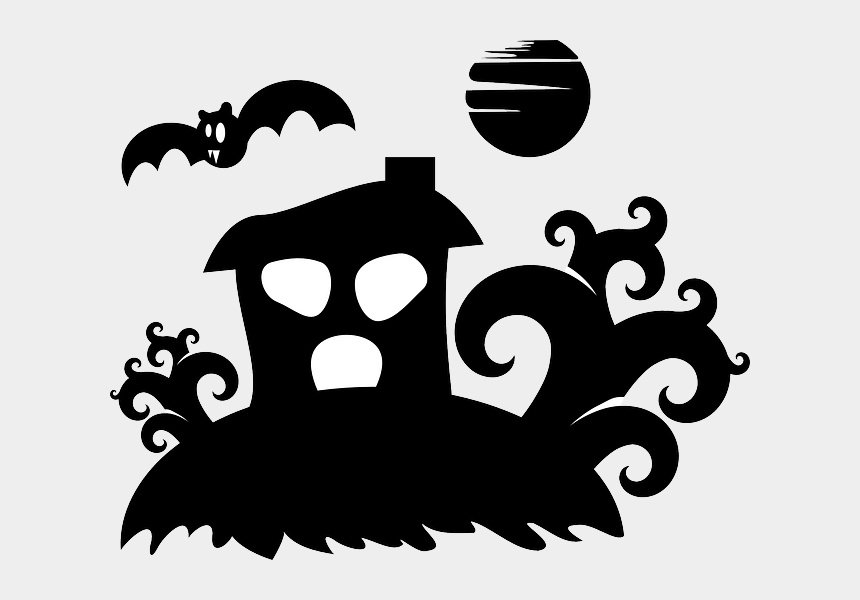 haunted house clip art black and white, Cartoons - Spooky Clipart