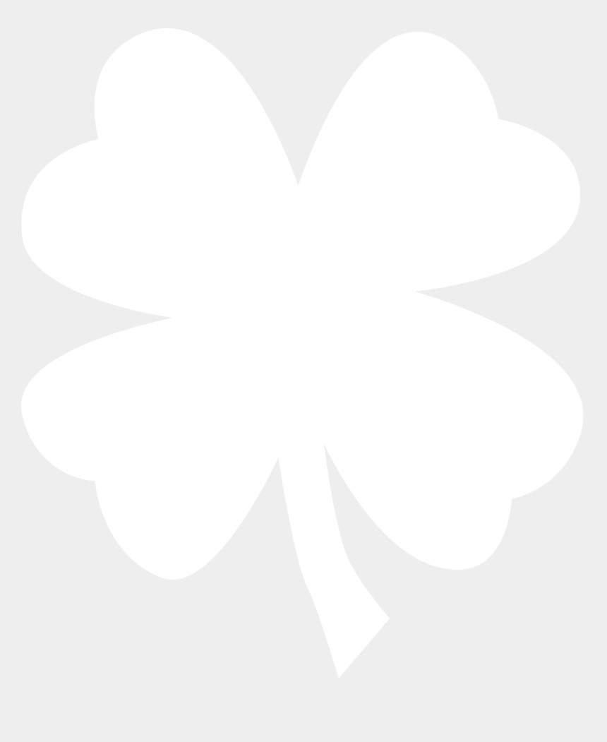 4 leaf clover clip art black and white, Cartoons - White Four Leaf Clover Png Download - Four Leaf Clover White Png