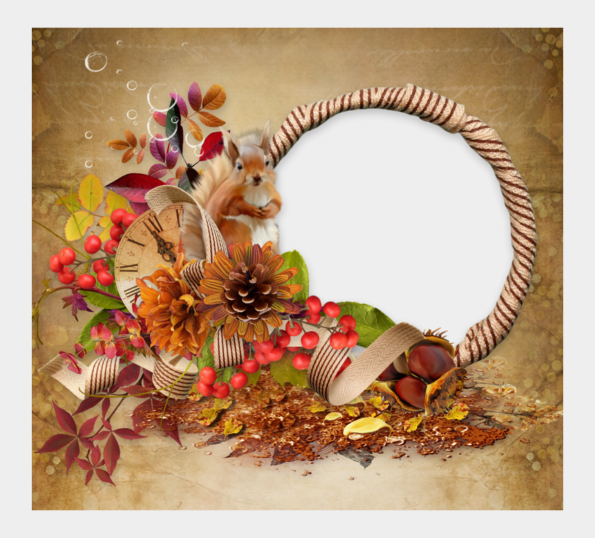 squirrel clipart, Cartoons - Squirrel Clipart Thanksgiving - Frame Of Fall Flowers Clipart