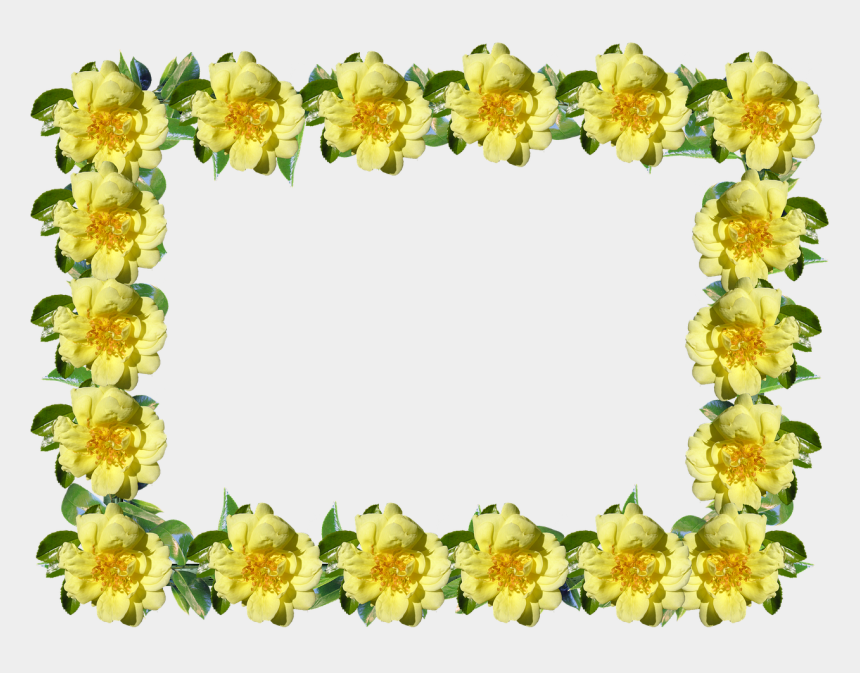 rustic frame clip art, Cartoons - Frame Border Rose Free Picture - Yellow Flower Frame Png