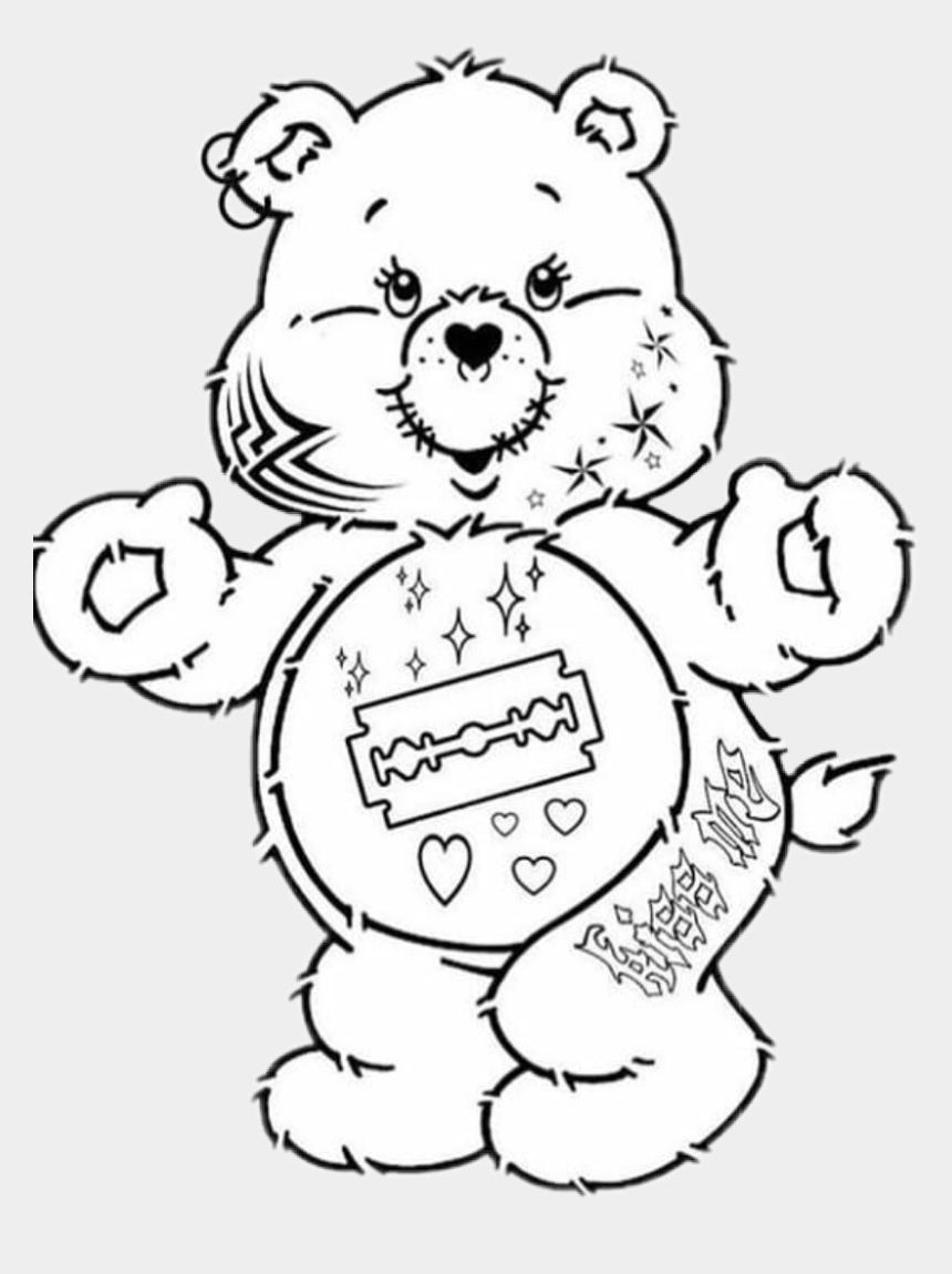 teddy bear clip art black and white, Cartoons - #goth #teddy #bear #white #black #tattoo #heart #razorblade - Easy Care Bears Drawing