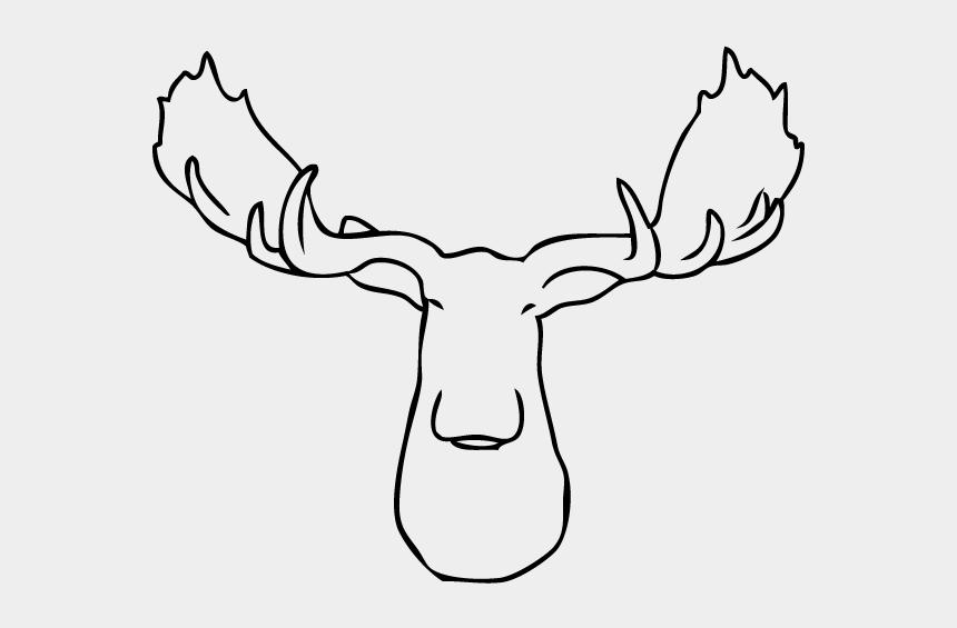 deer skull clip art, Cartoons - White Faux Taxidermy Mooose Head Antler Orientation - Line Art
