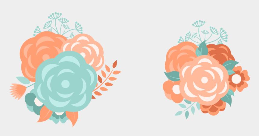 wedding flower clip art, Cartoons - Peach Flower Clipart Wedding - Aqua And Orange Flower