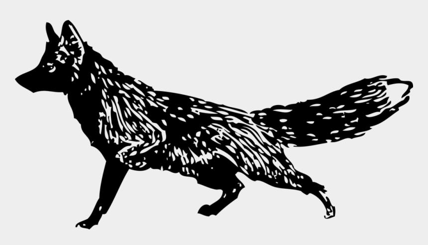 fox black and white clipart, Cartoons - Fox, Walking, Black And White, Animal, Mammal, Running - Fox Clip Art