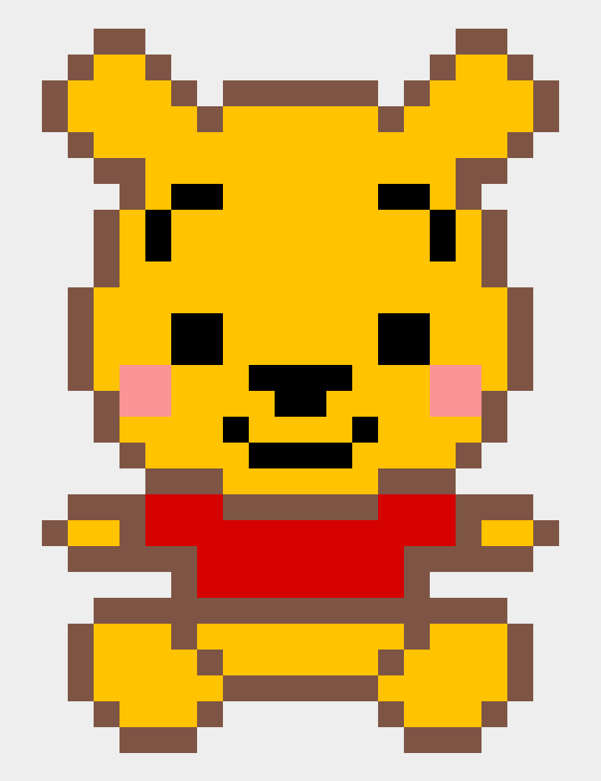 pooh bear clip art, Cartoons - Minecraft Pixel Art Teddy Bear