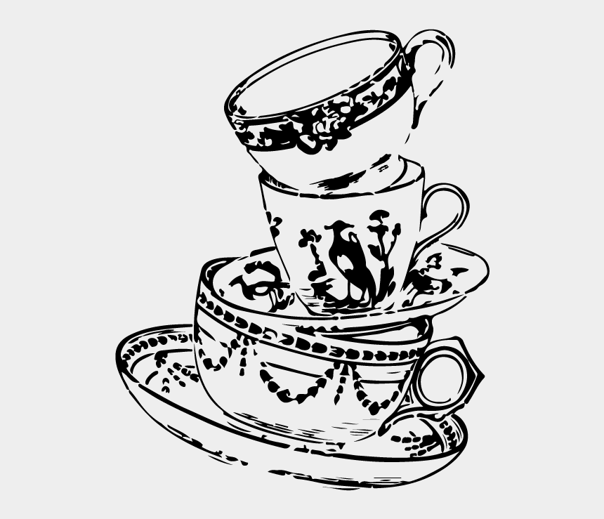 coffee clip art black and white, Cartoons - Tea Cup Mad Hatter Drawing