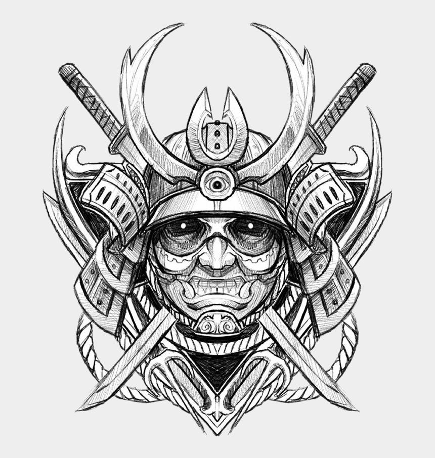 drawing clipart, Cartoons - Ghost Tattoo Sketch Japanese Samurai Avatar Drawing - Samurai Drawing Face