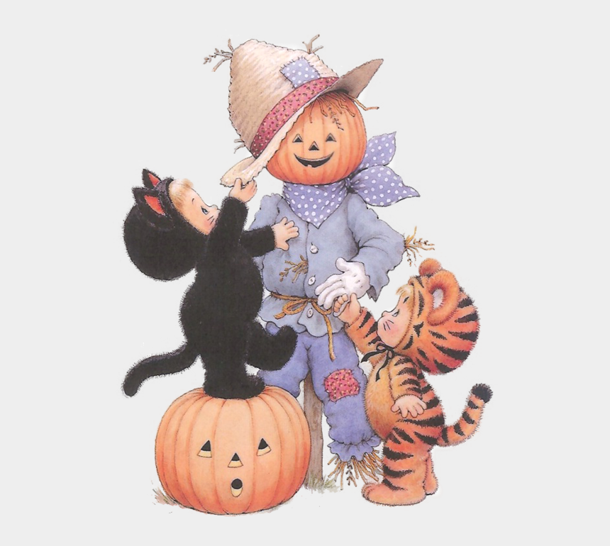 Halloween Vintage Clipart.Scarecrow Clipart Vintage Png Download Cute Cartoon Halloween