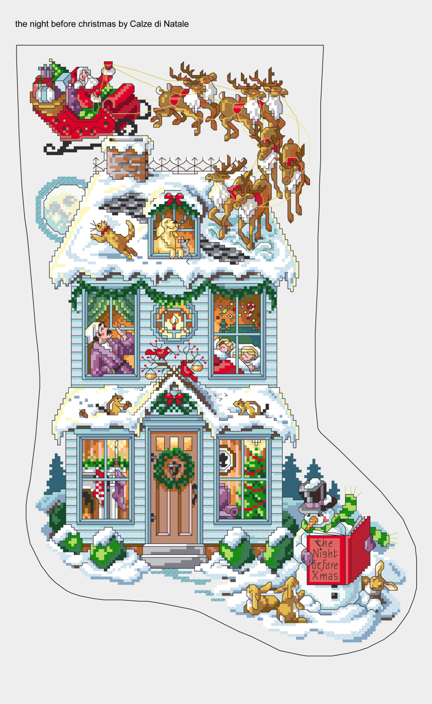 twas the night before christmas clip art, Cartoons - Free Cross Stitch Christmas Stocking