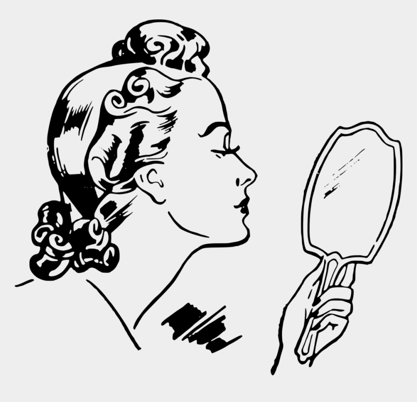 hand holding clip art, Cartoons - Vector Mirror Hand Holding - Woman Looking In Mirror Drawing