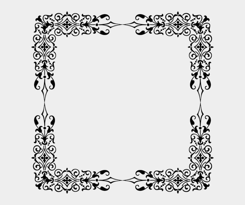 scroll frames clip art, Cartoons - Moldura Vintage Quadrada Png