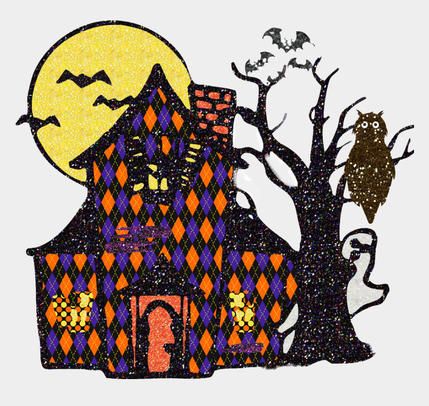 halloween tree clip art, Cartoons - Halloween Haunted House Clipart