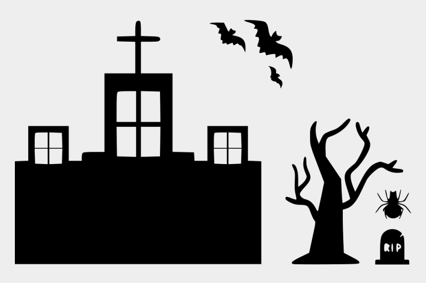 halloween tree clip art, Cartoons - Halloween Haunted Home House Mansion Bats Tree Spider - Haunted House Svg With Tree