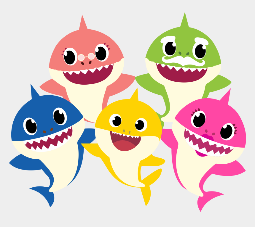 shark clipart free, Cartoons - Baby Shark Family Png