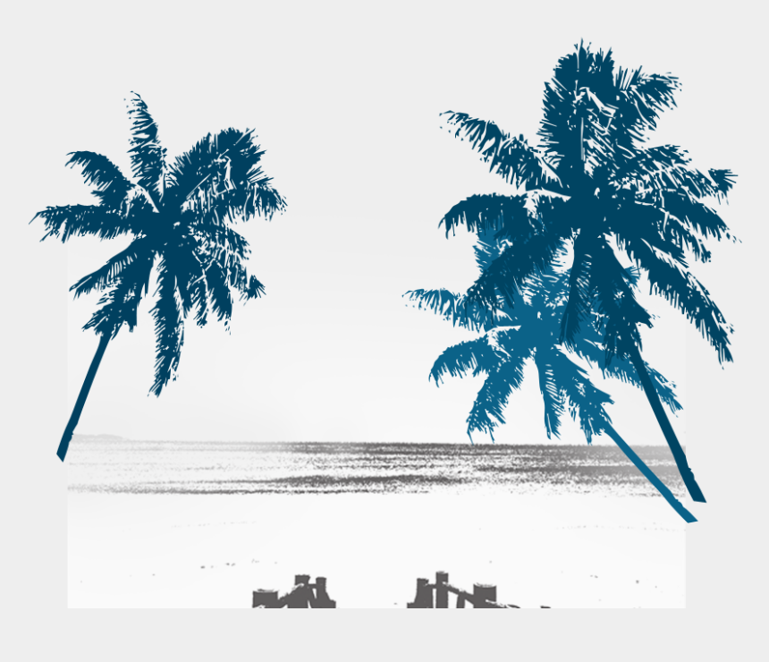 beach silhouette clip art, Cartoons - Palm Trees Background Design Png