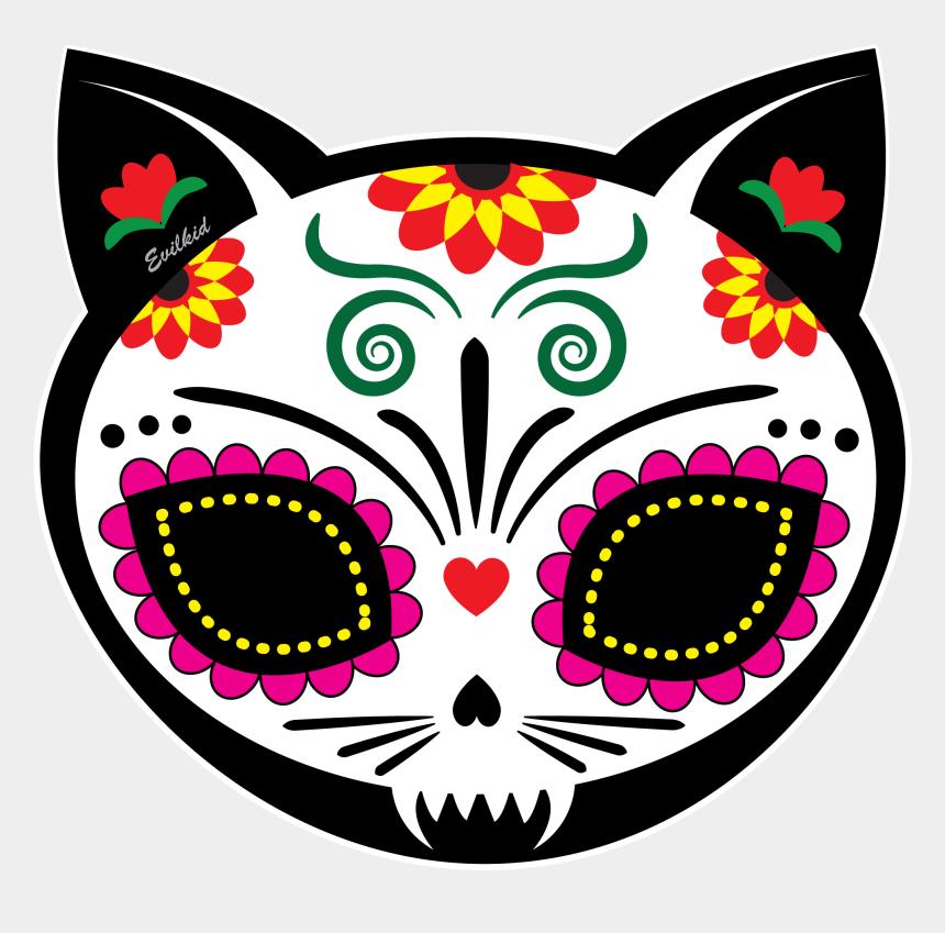 skull clipart, Cartoons - Cat Skull Clipart - Dia De Los Muertos Cat Skull