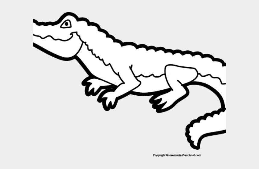 alligator clipart, Cartoons - Alligator Clipart Outline - Black And White Cute Alligator Clipart