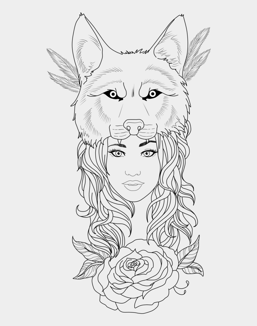 wolf clipart, Cartoons - Wolf Tattoos Clipart Girl - Girl Tattoo Png Wolf