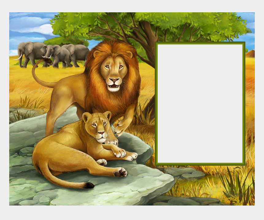 jungle clipart, Cartoons - Lions In The Jungle Transparent Kids Photo Frame