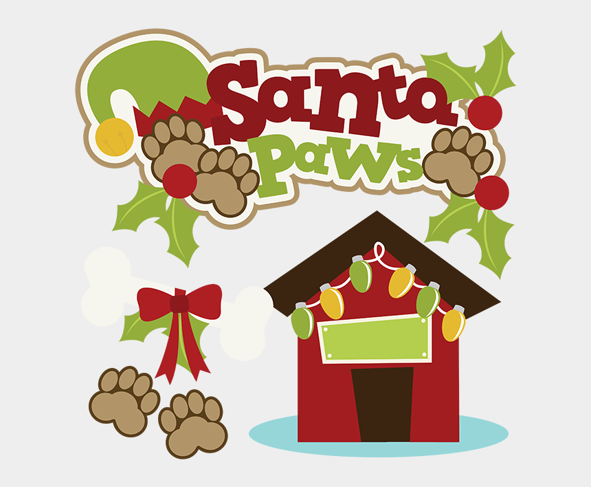 merry christmas clipart, Cartoons - Merry Christmas Clipart Dog - We Believe In Santa Paws