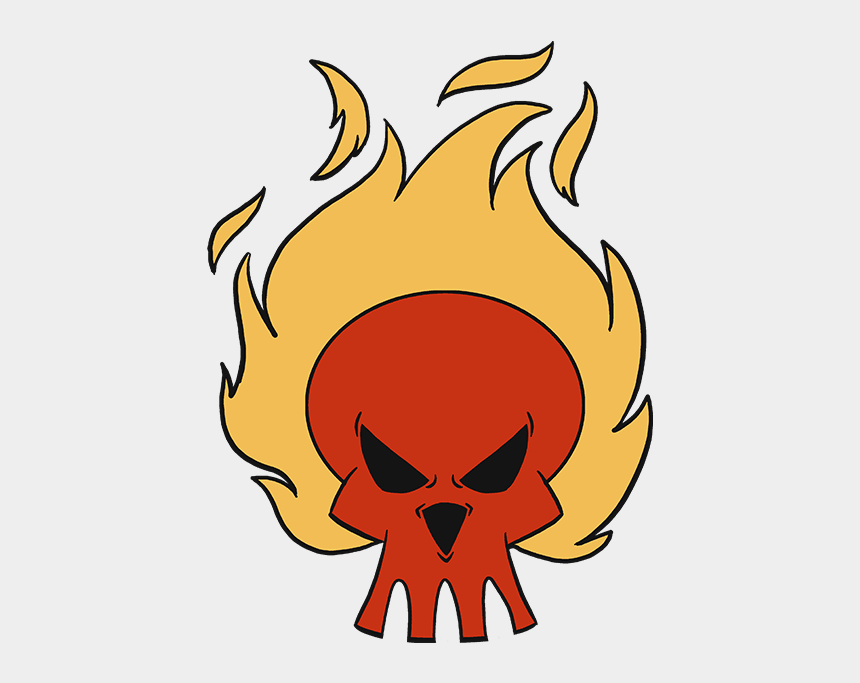 flaming skull clip art, Cartoons - How To Draw A Flaming Skull - Skull Drawing Easy Flame