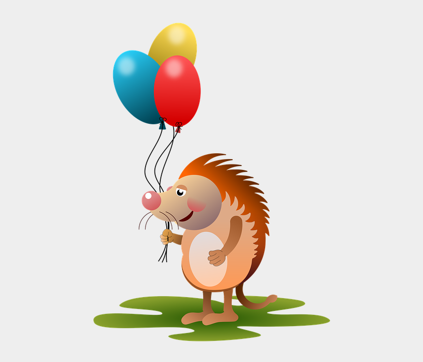 balloon animal clip art, Cartoons - Hedgehog, Animal, Animals, Balloons, Amorous, Comic - Hedgehog With Balloons Clipart