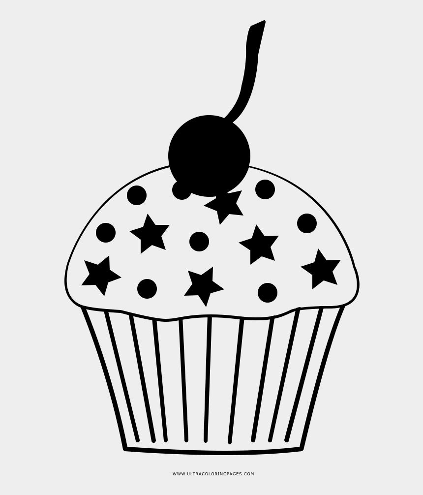 cupcake clip art black and white, Cartoons - Cupcake Coloring Page - 3d Star Svg Free