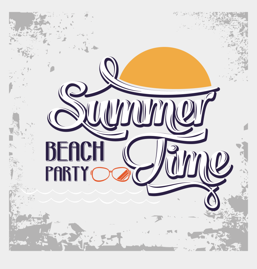 beach clipart, Cartoons - Summer Art Vector Time Font Beach Clipart - Summer Time Vector Png