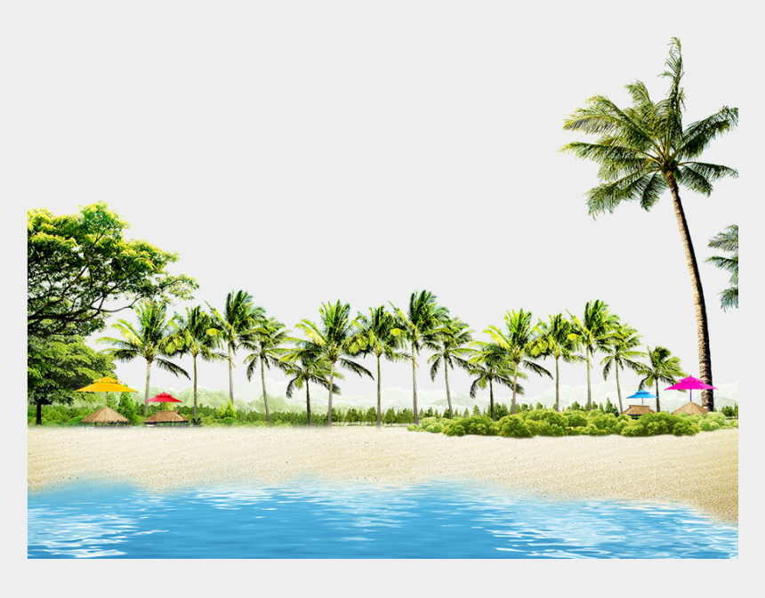 coconut tree clipart, Cartoons - Beach With Coconut Palms And Summer Huts - Coconut Tree Beach Png