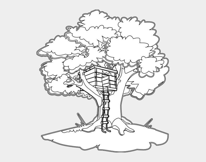 tree clipart black and white, Cartoons - Tree House Black White Line Art Coloring Book Colouring - Magic Tree House Coloring Pages