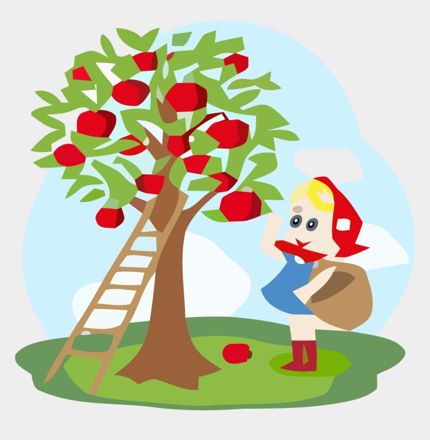 apple tree clipart, Cartoons - Illustration Of Little Girl With Basket Standing Near - Desenho Menina Com Maça