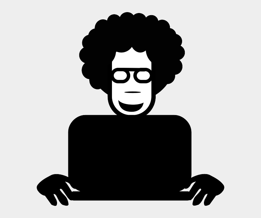 person writing clip art, Cartoons - Man With Laptop Clipart