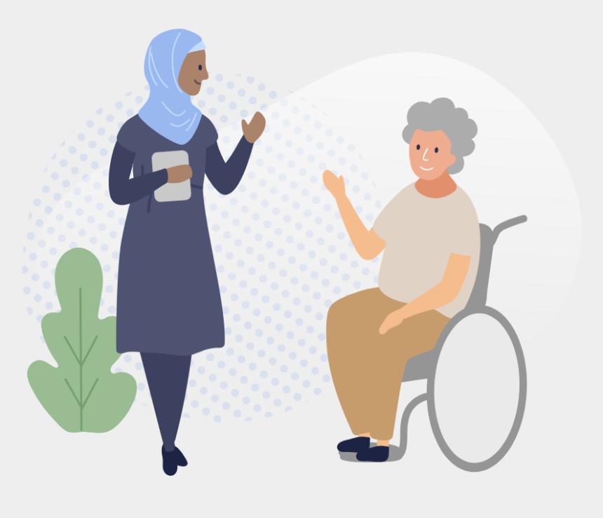 two women talking clip art, Cartoons - Woman In Wheelchair Talking To Female Assessor - Sitting