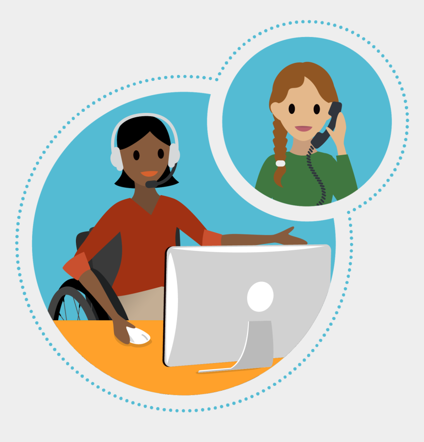 two women talking clip art, Cartoons - Woman In A Wheelchair Sitting In Front Of Computer - Cartoon