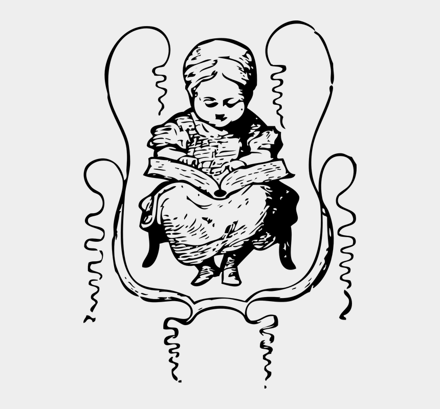 girl reading book clip art, Cartoons - Girl, Reading, Book, Studying, Sitting, Chair - Education Of The Girl Drawing