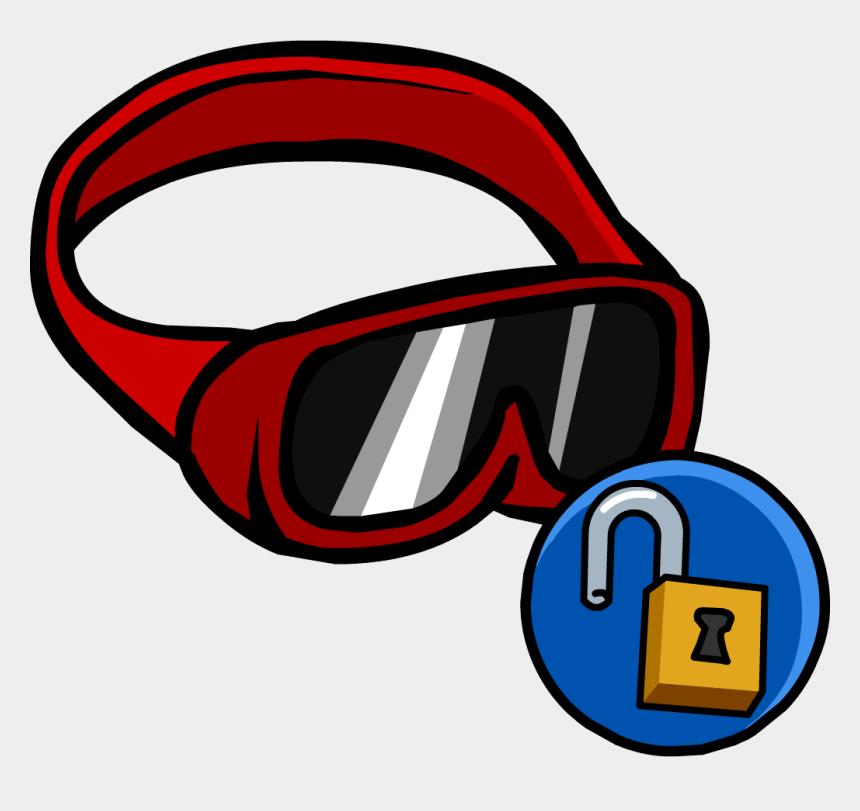 googles clip art, Cartoons - Red Ski Goggles - Blue Glasses Club Penguin