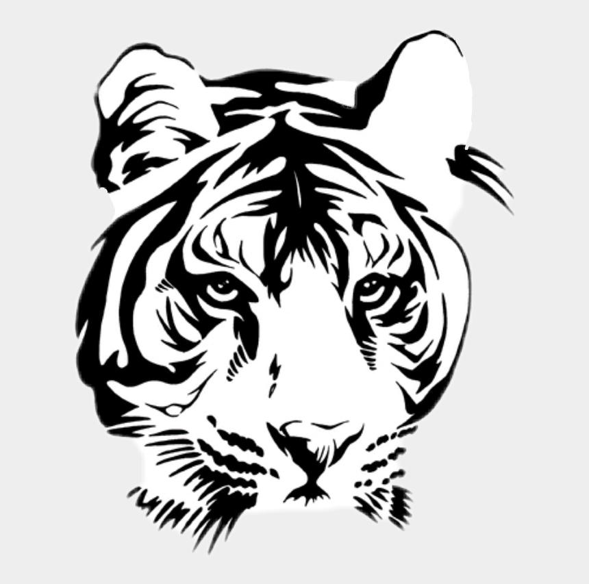 tiger head clip art black and white, Cartoons - #tiger - Tiger Face Tattoo Stencil