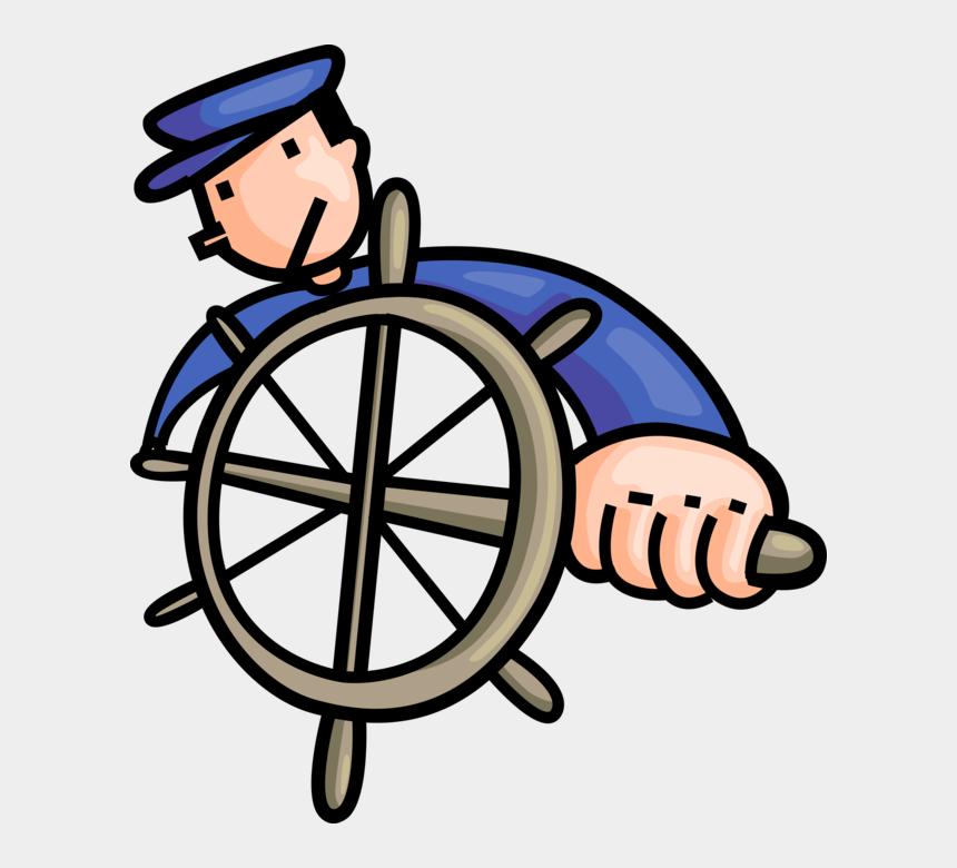 ship wheel clip art black, Cartoons - Helm Vector Sailor - Captain On A Ship Cartoon