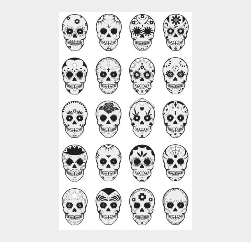 dia de los muertos clipart, Cartoons - Templates For Dia De Los Muertos, Day Of The Dead, - Mexican Skull Tattoo Simple