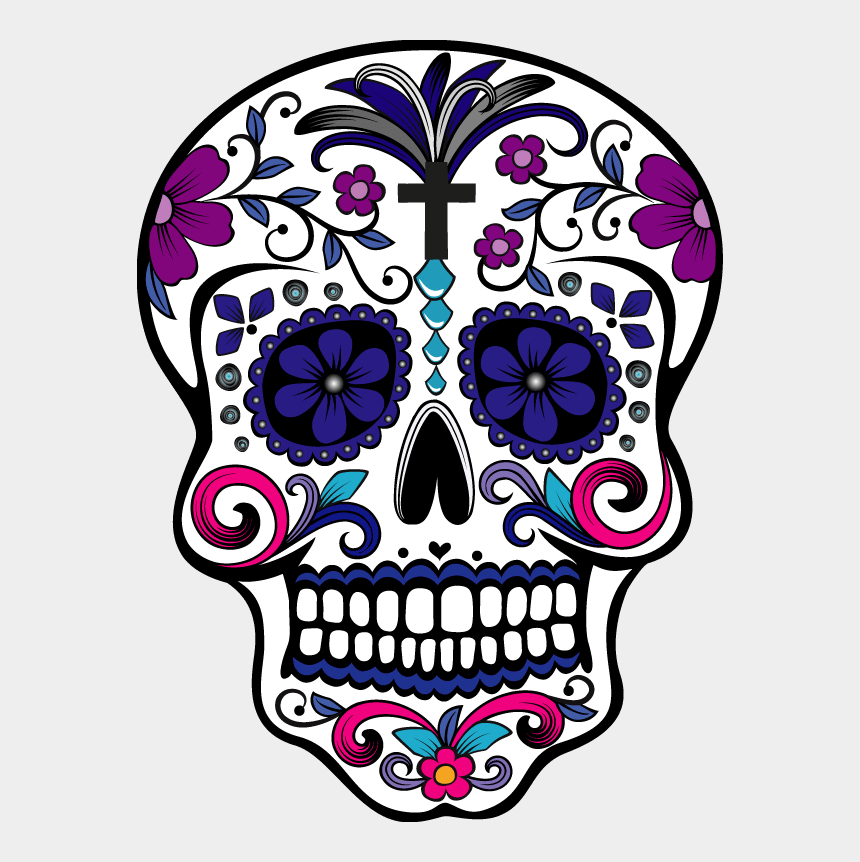 dia de los muertos clipart, Cartoons - I Will Sugar Skull And Tshirt Design With Illustration - Day Of The Dead Skull No Background