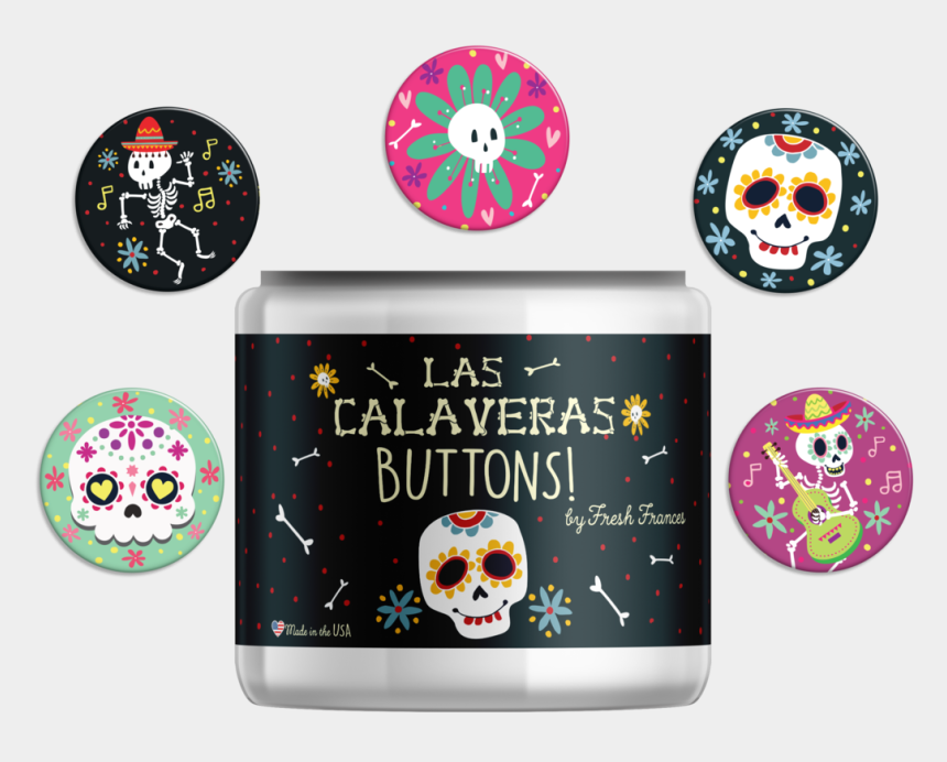 dia de los muertos clipart, Cartoons - Sugar Skull Button Jar - Skull