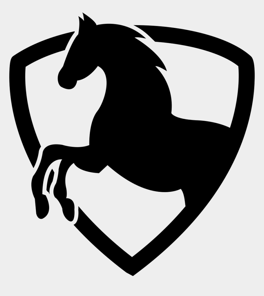 horse outline clip art, Cartoons - Black Horse Part In A Shield Outline - Horse Icon