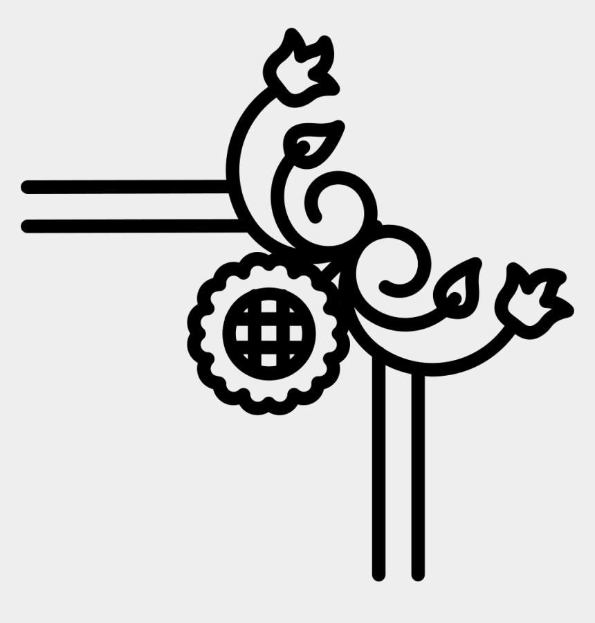 leaf border clip art black and white, Cartoons - Sunflower With Vines And Leaves Variant Border - Vector Border Flower Designs