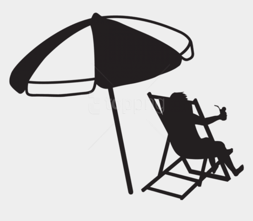 camp clip art black and white, Cartoons - Download Man At The - Black And White Beach Umbrella Clipart