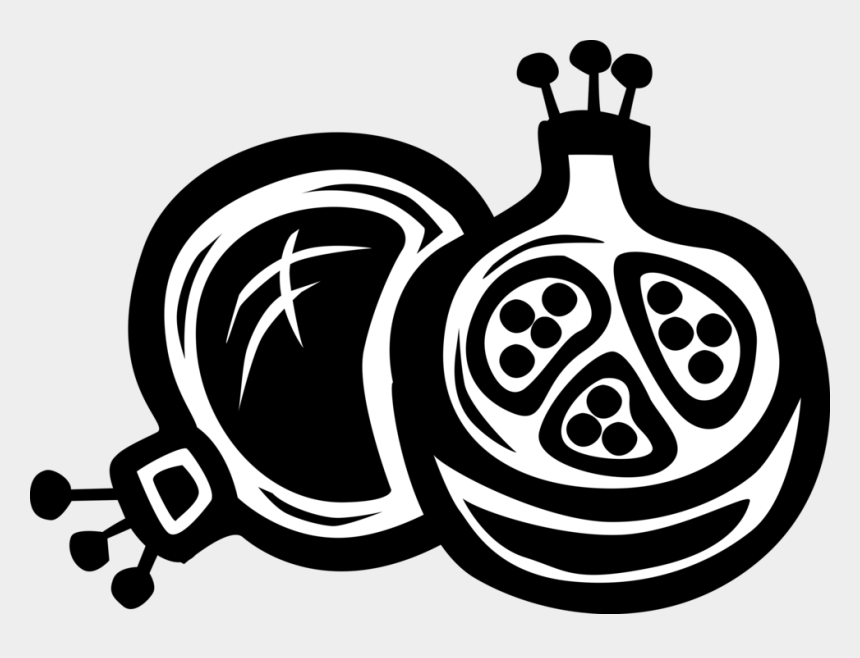 pomegranate clip art, Cartoons - Vector Illustration Of Pomegranate Edible Fruit Berry - Arty Pomegranate Fruit Logo Black And White