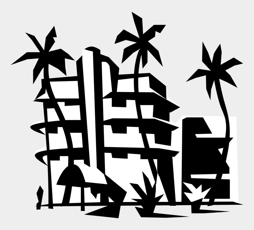 palm trees beach clip art, Cartoons - Vector Illustration Of Miami Beach Resort Hotel With - Resort Clipart Black And White